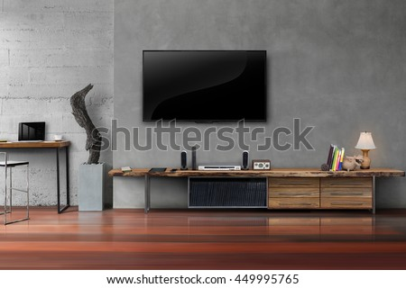 Living room led tv on concrete wall with wooden table media furniture modern loft style