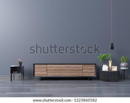 Living room led tv on dark blue wall in modern empty room,minimal designs, 3d rendering