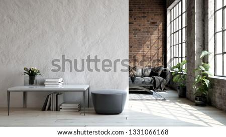 Living room loft in industrial style ,3d render ストックフォト ©