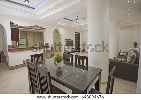 Living room lounge in luxury apartment show home showing interior design decor furnishing #643094674