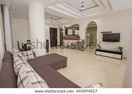 Living room lounge in luxury apartment show home showing interior design decor furnishing #643094827