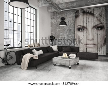 living room of a penthouse placed in loft. 3d rendering
