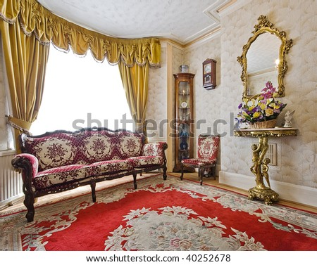 Living Room Of A Victorian House With Antique Furniture Stock Photo