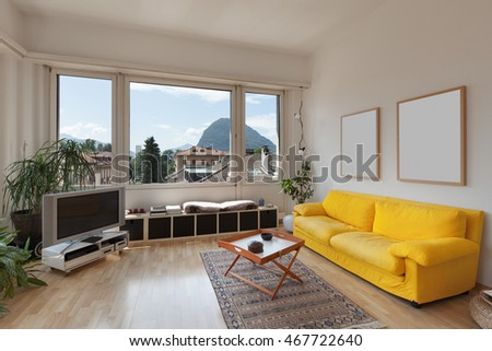 living room of old apartment, yellow divan and wooden floor #467722640