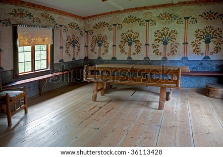 Living room of the 1800's with painted wallpaper in Skansen, Stockholm, Sweden