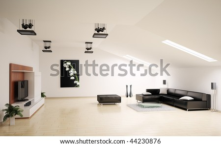 Living room penthouse interior 3d render - stock photo