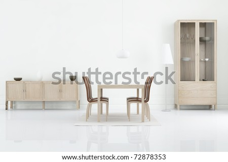 Living Room Setting - table, chair and rack to face a blank wall, cgi