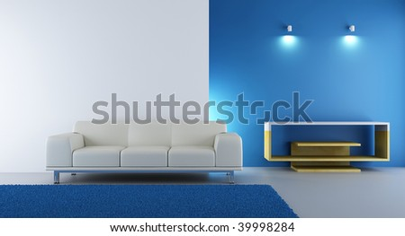 Living Room Setting - white couch to face a blank wall