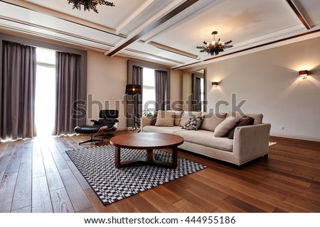 living room with a beautiful interior #444955186