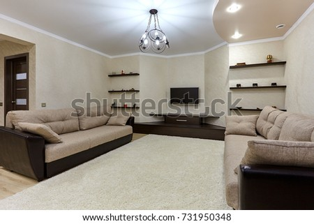 living room with a beautiful interior #731950348
