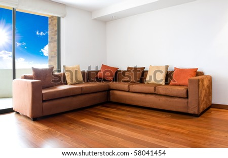 Living room with big sofa - interior design