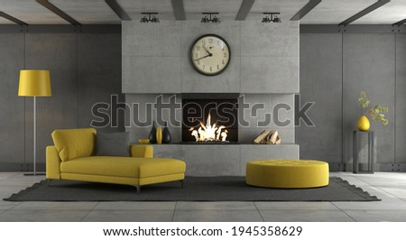 Living room with concrete wall ,fireplace and yellow furnishings - 3d rendering Foto stock ©