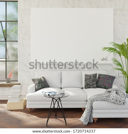 Living room with couch and mockup pictures. Clipping path for mockup canvas picture included. 3D render. 3D illustration.