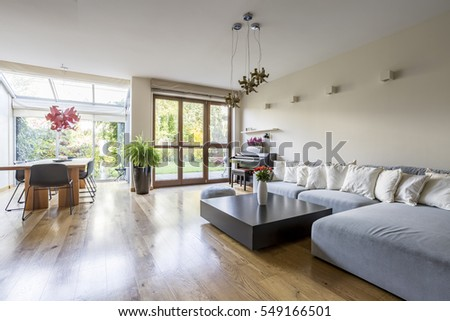 Living room with dining area and patio entrance #549166501