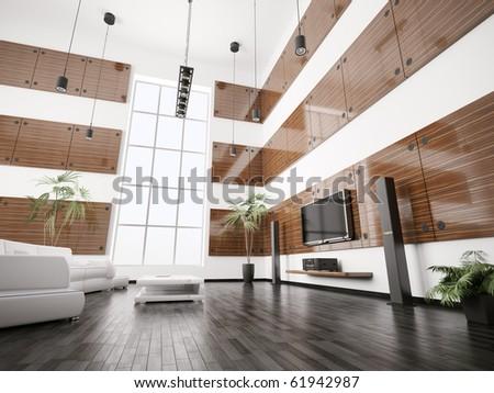 Living room with ebony wood panels interior 3d render