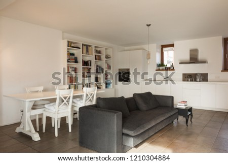 Living room with fabric sofa. Nobody inside #1210304884