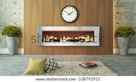 living room with fireplace and wooden 3D rendering for your project by Sedat SEVEN