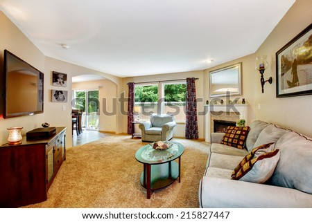 Living room with fireplace, grey comfortable sofa and chair, small coffee table and tv with cabinet