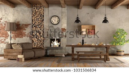 living room with fireplace in rustic style with sofa and dining table - 3d rendering