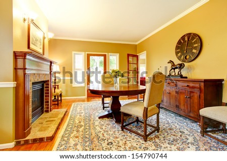 Excellent Living Room With Decorative Rug, White Furniture And A Fireplace.  | EZ Canvas
