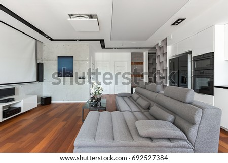 Living room with gray sofa and white open kitchen #692527384