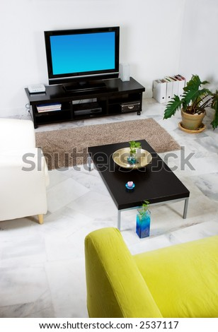 Living room with LCD television - simple house interior