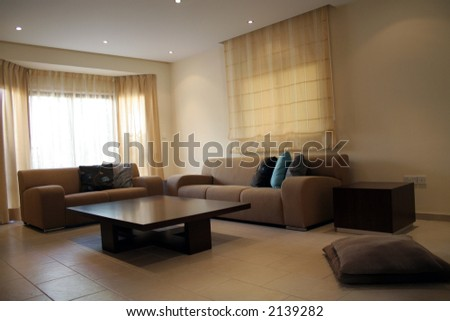 Living room with modern coffee table and sofa