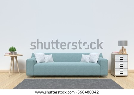 Living room with sofa have pillows, lamp, books and vase with flowers on white wall background, 3D rendering