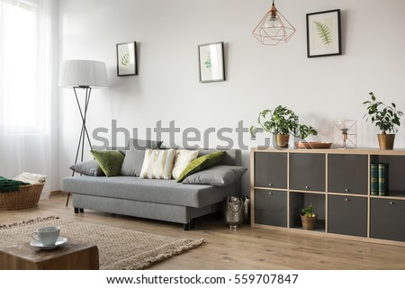Living room with sofa, lamp and rack #559707847
