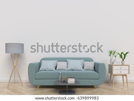 Living-room  with sofa, plants and plaid on empty white wall background. 3D rendering. #639899983