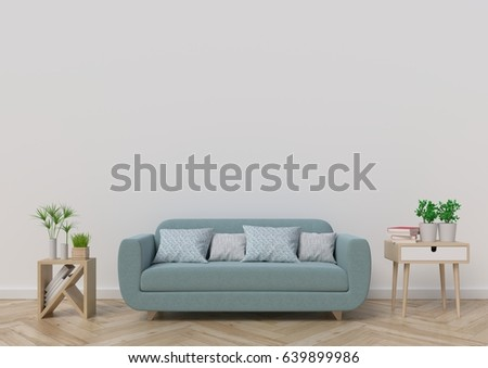 Living-room  with sofa, plants and plaid on empty white wall background. 3D rendering. #639899986