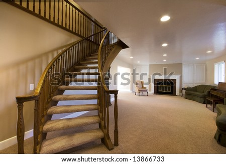 Living Room with Stairs going up in a house
