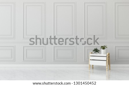 Living room with store box and white wall .common space in house. vintage interior design. -3d rendering