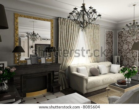 living-room with the classic furniture. 3D render. Living-room. Illustration