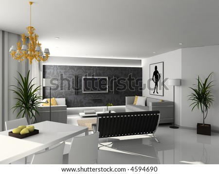 Living Room Sets on Living Room With The Modern Furniture  3d Render  Interior With Tv Set
