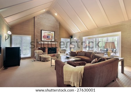 Living Room With Vaulted Ceilings Stock Photo 27630001 : Shutterstock
