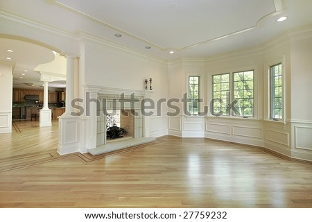 Living room with view of kitchen