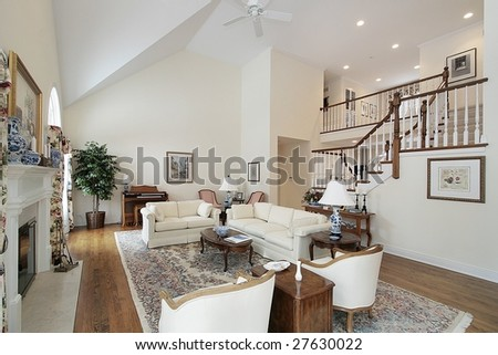 Living room with view of stairway #27630022