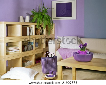 Living Room With Violet Walls Stock Photo 21909376 : Shutterstock