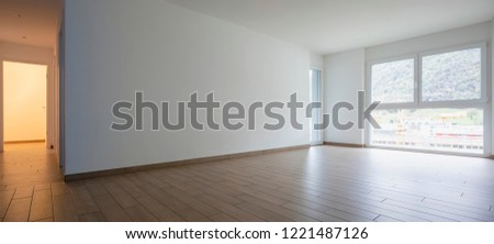 Living room with window and corridor. Nobody inside