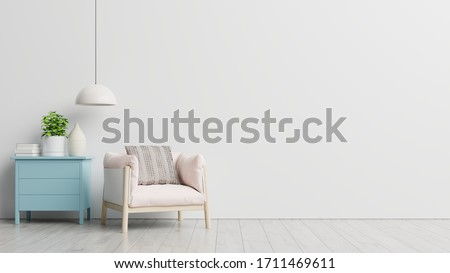 Living room with wooden table, lamps and pink armchair, 3d rendering