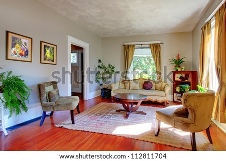 Living room with yellow curtains grey walls and antique - Grey and yellow living room curtains ...