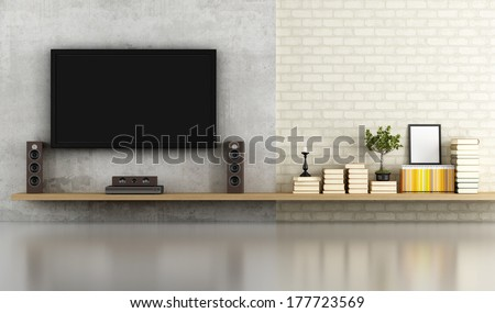 Living Room Without Furniture With Shelf ,Tv And Concrete Panel - Rendering