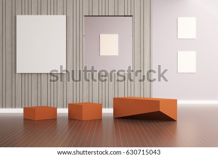 Living Simplicity and Wood Texture luxury and picture frame Modern Design / 3d rendering