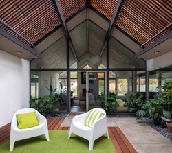 Living spaces of midcentury modern home