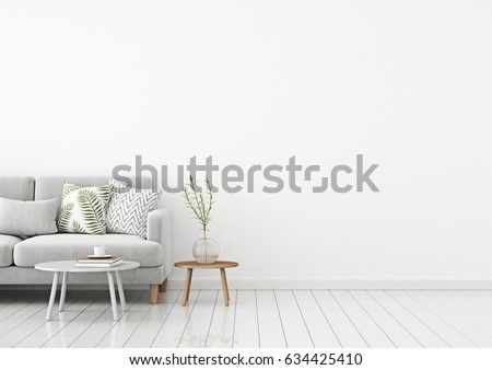 Livingroom interior wall mock up with gray fabric sofa and pillows on white background with free space on right. 3d rendering.