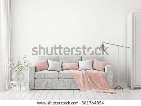 Livingroom Interior with sofa, pillows, plaid, lamp and vase with flowers on empty white wall background. 3D rendering.