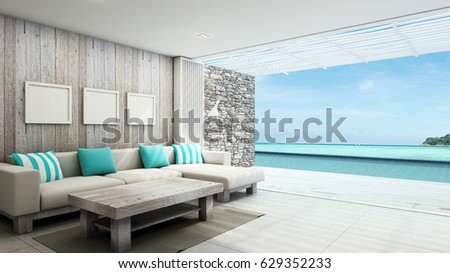 Livingroom summer beach pool villa outdoor background take view sea -3D render