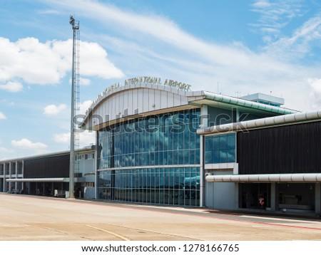 LIVINGSTON, ZAMBIA - NOVEMBER 24, 2018. Harry Mwanga Nkumbula International Airport in Livingstone, Zambia, Africa #1278166765