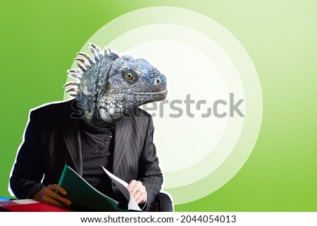 Lizard in business suit. Businessman with lizard face. Reptile head on human torso. A cunning and resourceful man. The lizard as a symbol of guile. Collage in magazine style with place for text. Foto stock ©